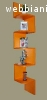 Ъглова етажерка за стена - Оранжева